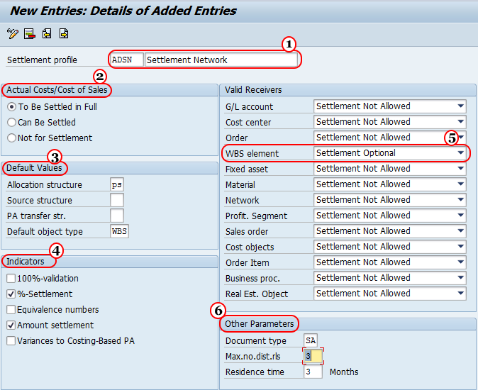 Maintain Settlement Profile in SAP