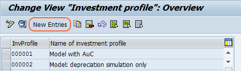 investment profile overview screen