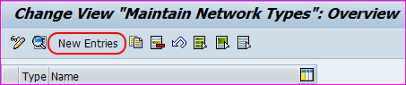 maintain network types new entries screen