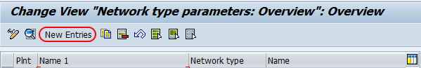 network type parameters overview screen