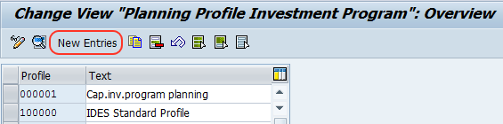 planning profile investment program overview screen