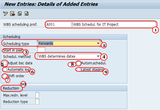 Define parameters for WBS scheduling in SAP PS