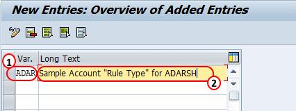 Define Sample Account Rule Types in SAP