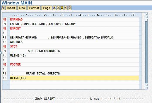 ABAP SAP Scripts program layout