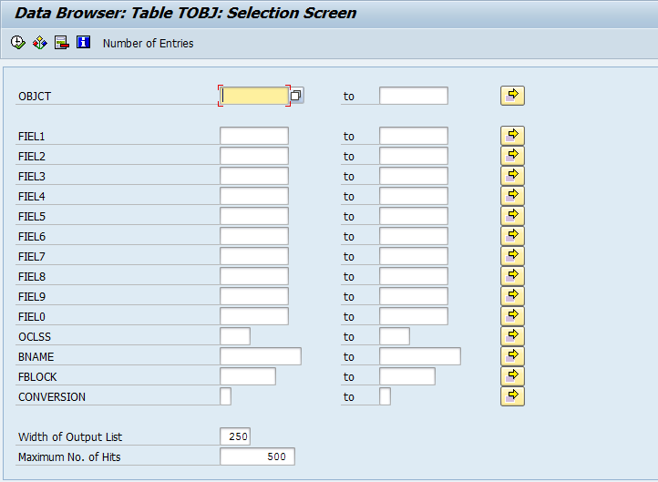 Authorization Groups in SAP tobj table
