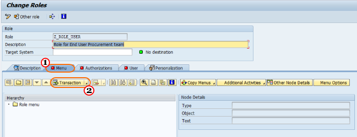 How to create User Roles in SAP - Add transactions
