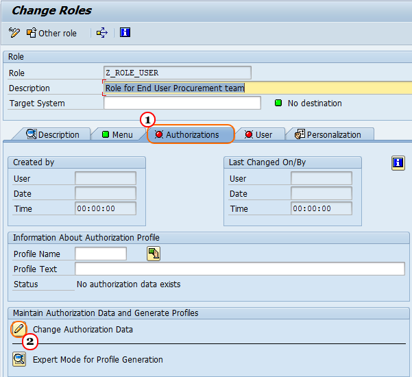 How to create User Roles in SAP Security systems authorizaion data