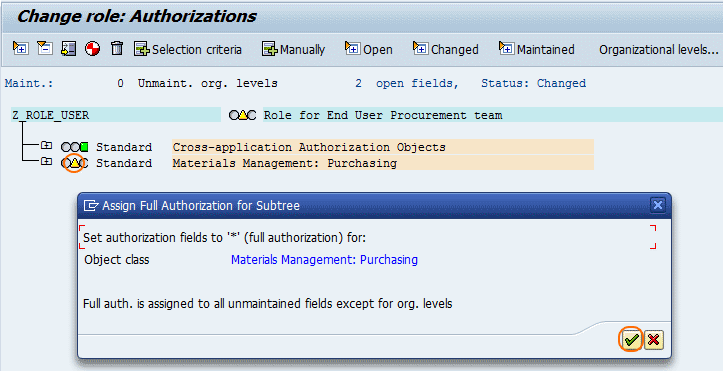 How to create User Roles in SAP - authorization sub tree