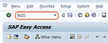 Transaction code su21 to maintain authorization object