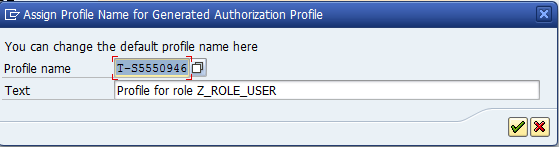 assign profile name for generated authorization profile