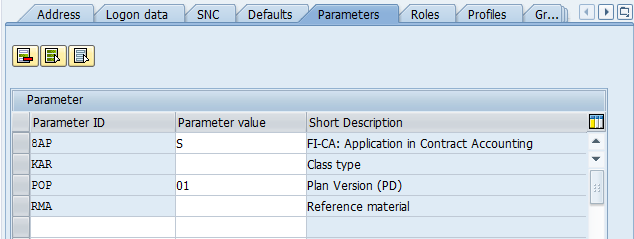 parameter to create user in SAP