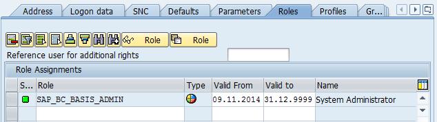 role user in SAP