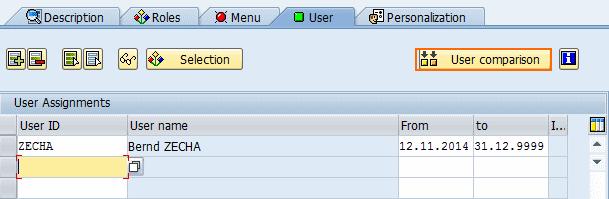 user comparision sap roles