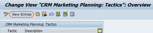 CRM Marketing planning tactics screen.