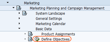 Define objectives SAP Reference IMG Path