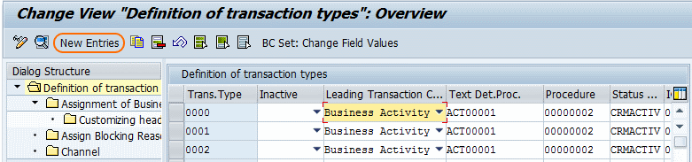 Definition of transaction types