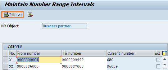 Maintain business partner number range intervals
