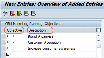 objectives in SAP - entries