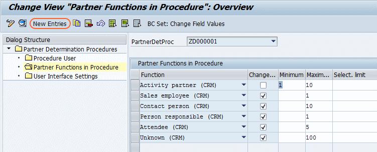 partner function in procedure