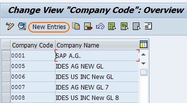 Define New company code in SAP new entries