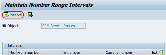 Maintain numbe range inervals for services