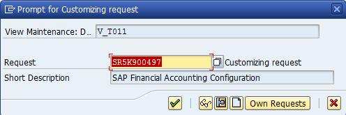 SAP Customizing Request Number