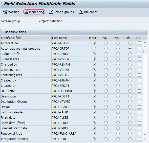 Define Field Selections For Work Breakdown Structure