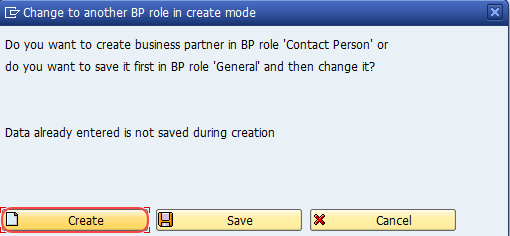 change to another BP role in create mode
