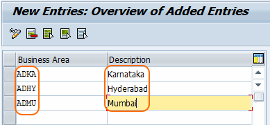 define business areas in SAP system