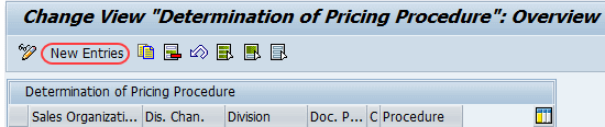 determination of pricing procedure overview screen