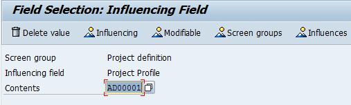 field selection project profile sap
